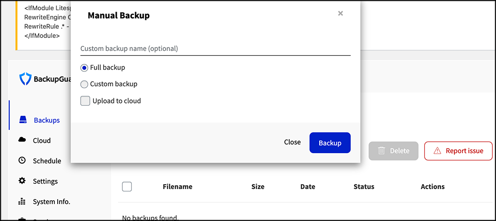 Popup box select full backup