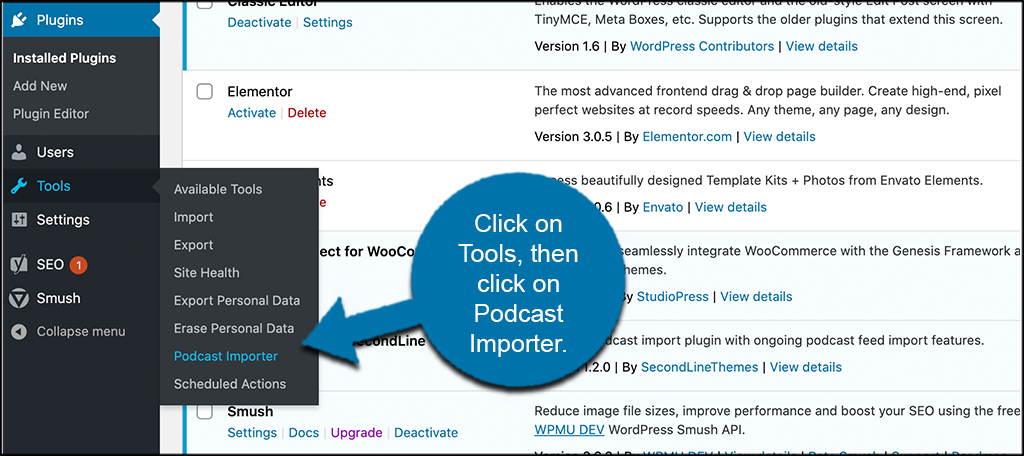 Click tools then podcast importer