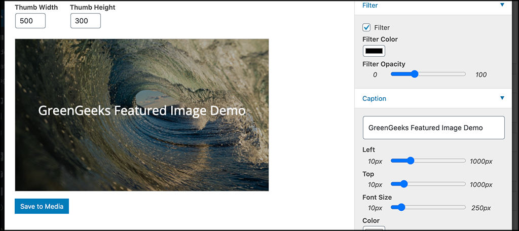 Use the featured image generator editor