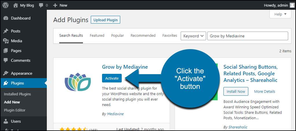 click to activate the WordPress Grow by Mediavine plugin