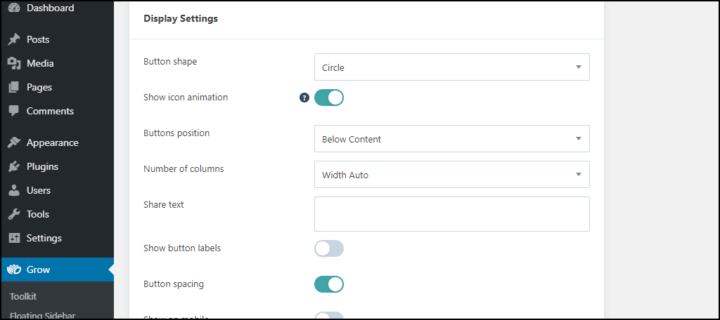 changing the button display options
