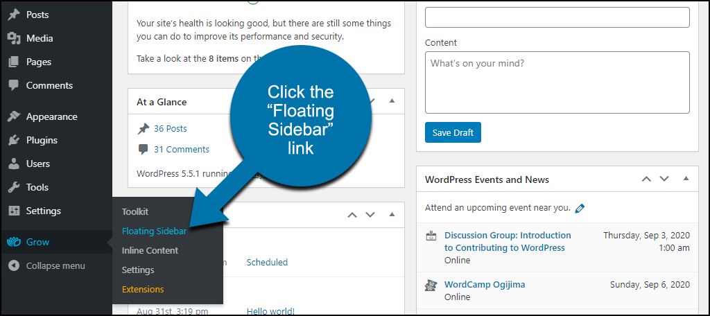 """click the """"Floating Sidebar"""" link"""
