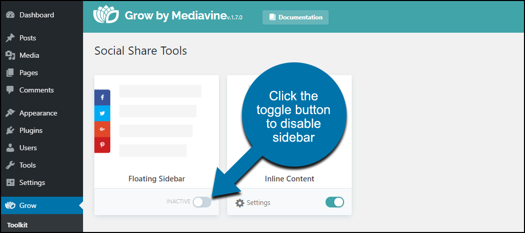 """click the toggle at the bottom of """"Floating Sidebar"""""""