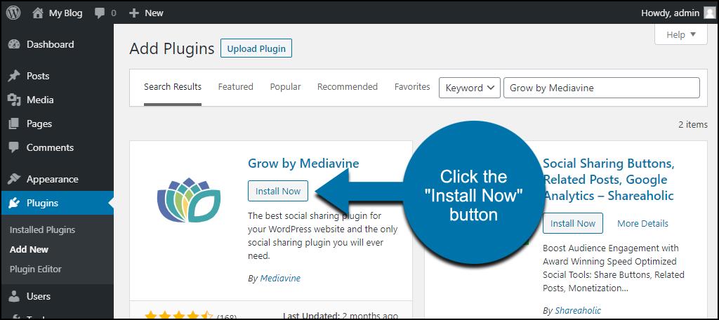 click to install the WordPress Grow by Mediavine plugin