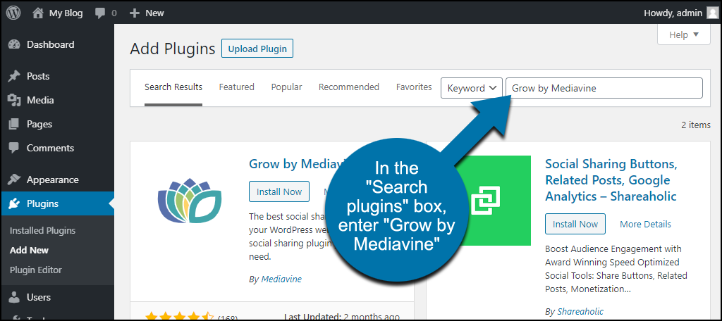 search for the WordPress Grow by Mediavine plugin