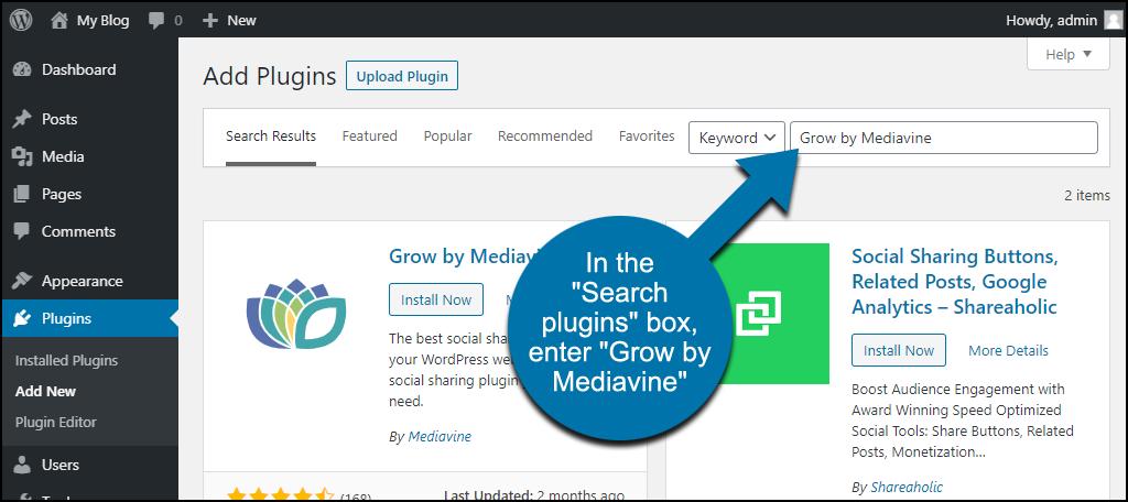 search for the WordPress Grow by Mediavine plugin