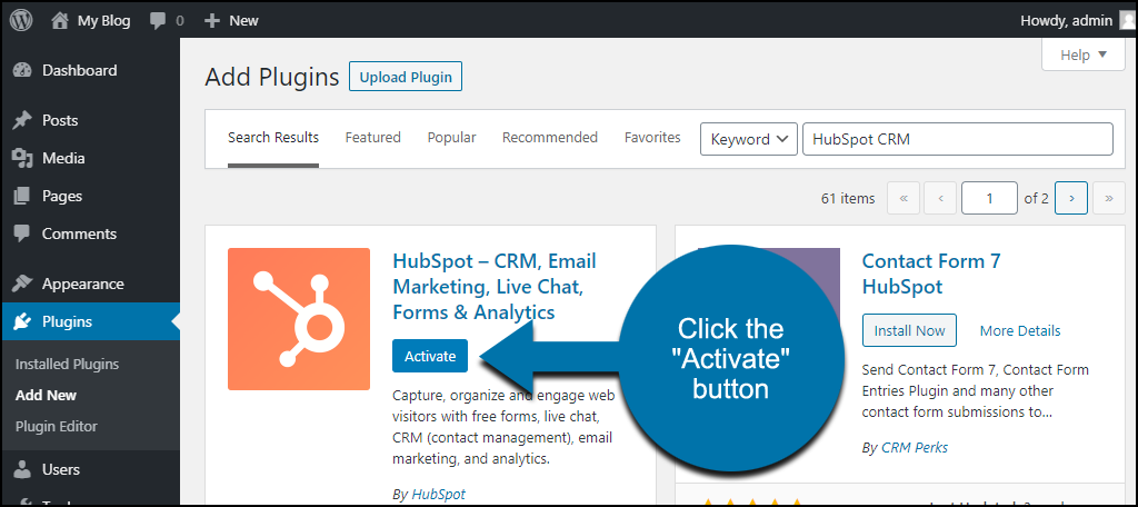 click to activate the WordPress HubSpot CRM plugin