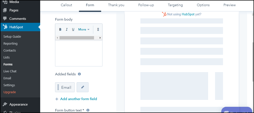HubSpot CRM WordPress plugin form content