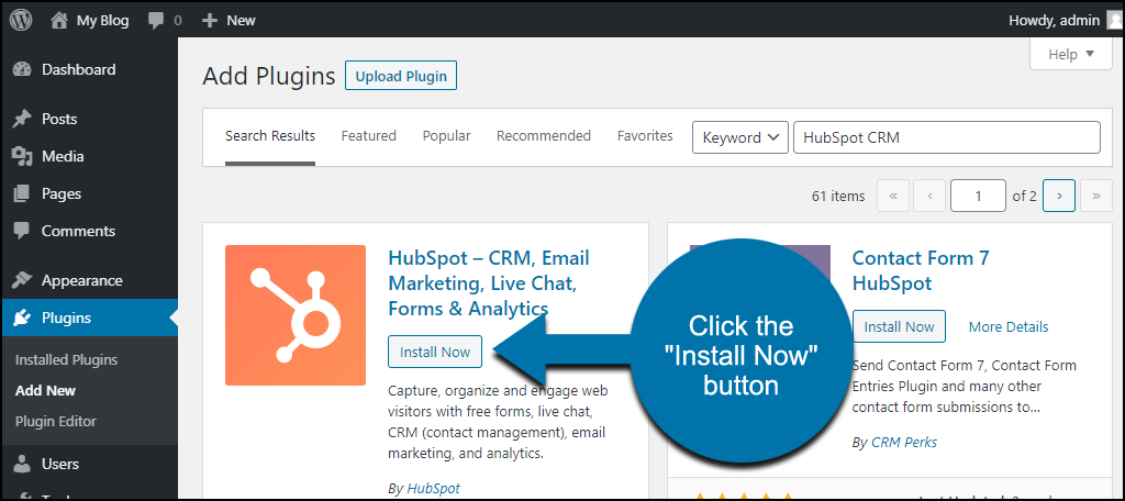 click to install the WordPress HubSpot CRM plugin