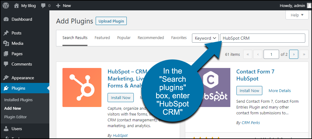 search for the WordPress HubSpot CRM plugin