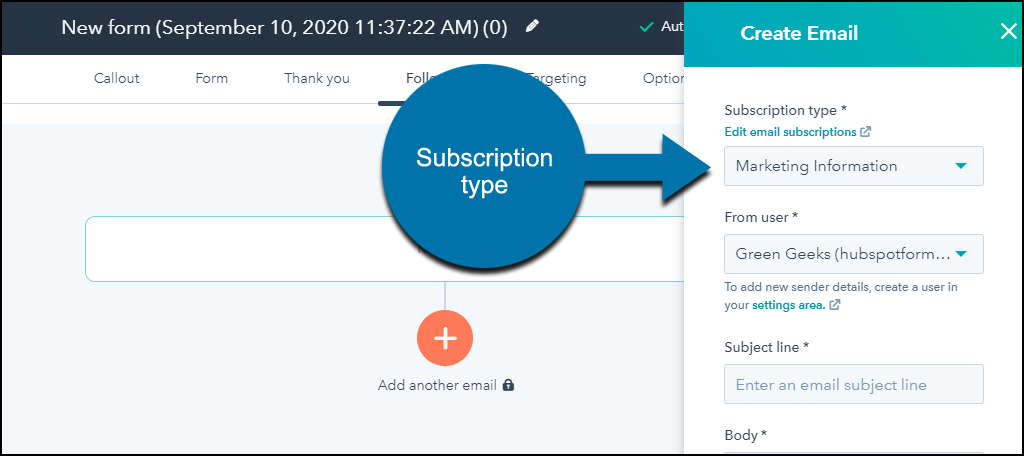 HubSpot CRM WordPress plugin subscription type