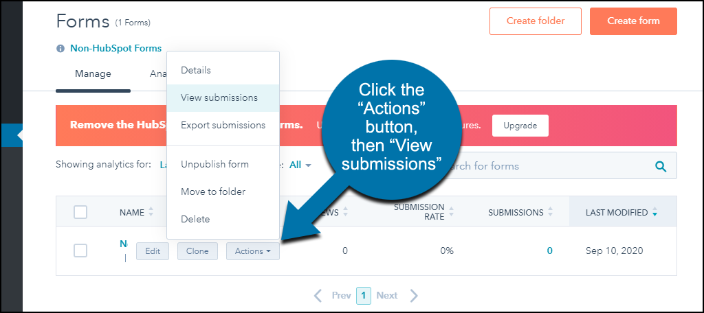 "HubSpot CRM WordPress plugin click ""View submissions"""