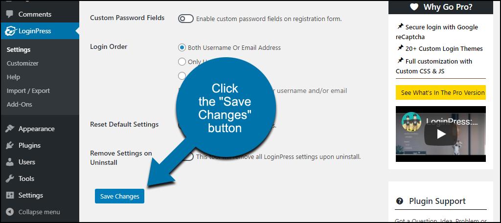 "LoginPress WordPress plugin click the ""Save Changes"" button"