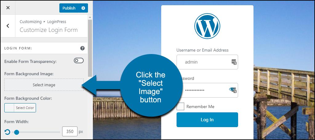 LoginPress WordPress plugin select form background image