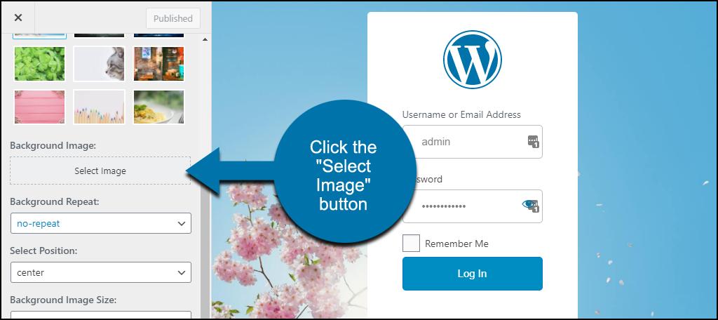 """LoginPress WordPress plugin click the """"Select Image"""" button"""
