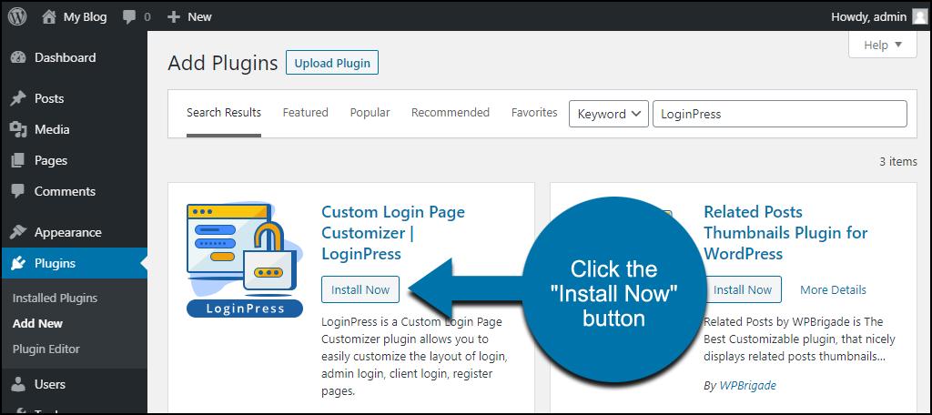 click to install the WordPress LoginPress plugin