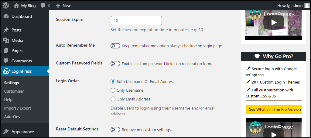 LoginPress WordPress plugin settings page