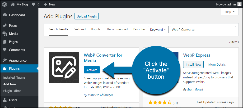 click to activate the WordPress WebP Converter for Media plugin