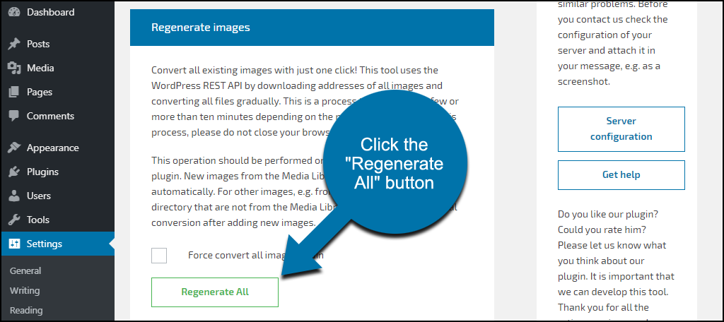 "WebP Converter for Media plugin click the ""Regenerate All"" button"