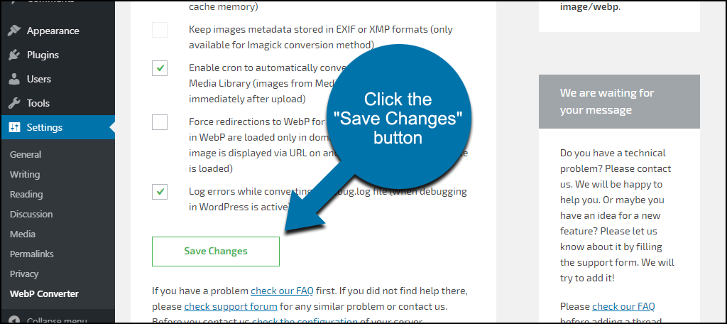 "click the ""Save Changes"" button"