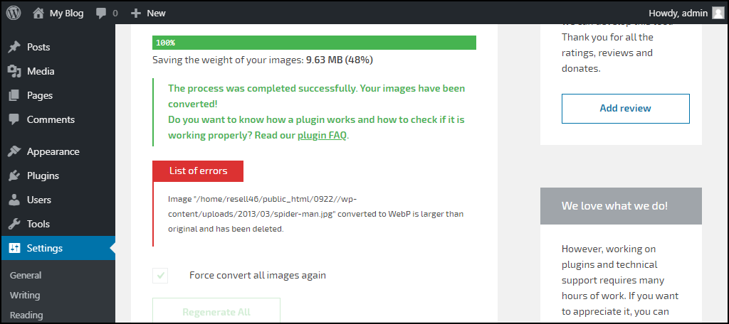 WebP Converter for Media plugin conversion errors