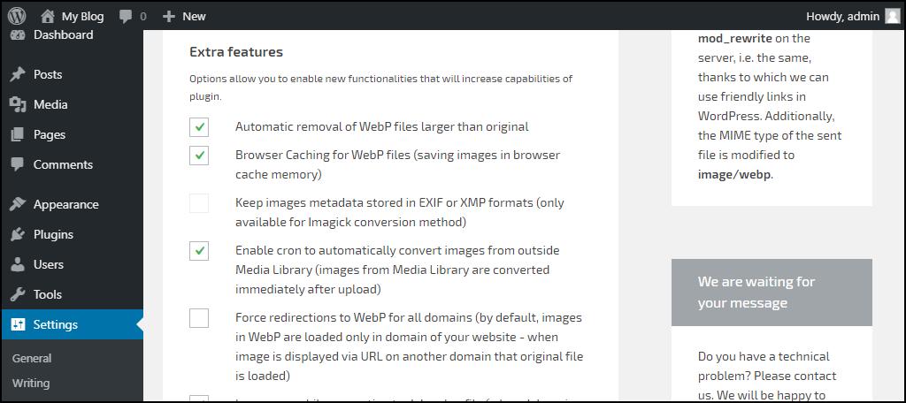 WebP Converter for Media plugin configuration extra features