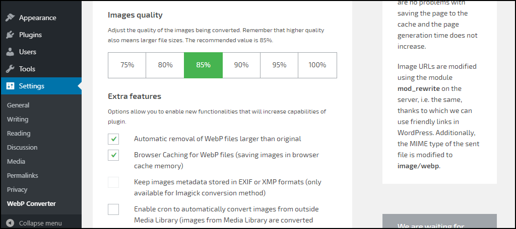 WebP Converter for Media plugin configuration image quality