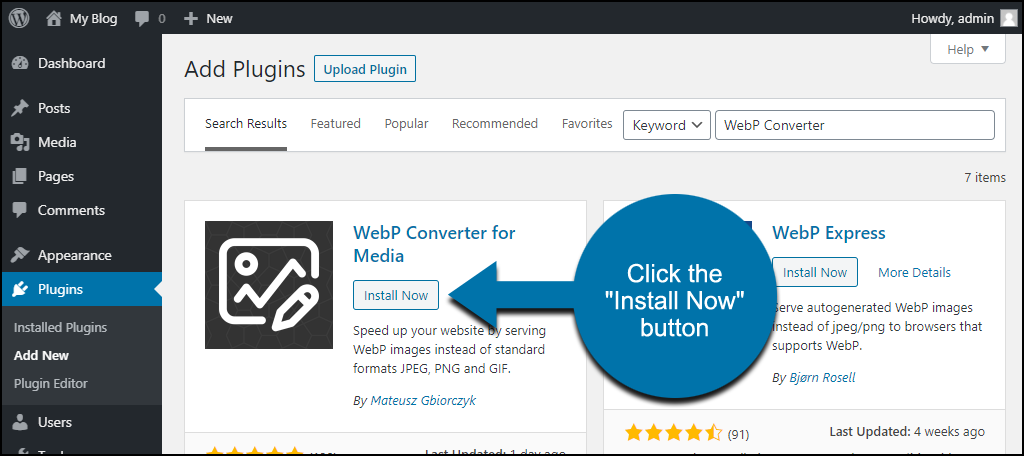 click to install the WordPress WebP Converter for Media plugin