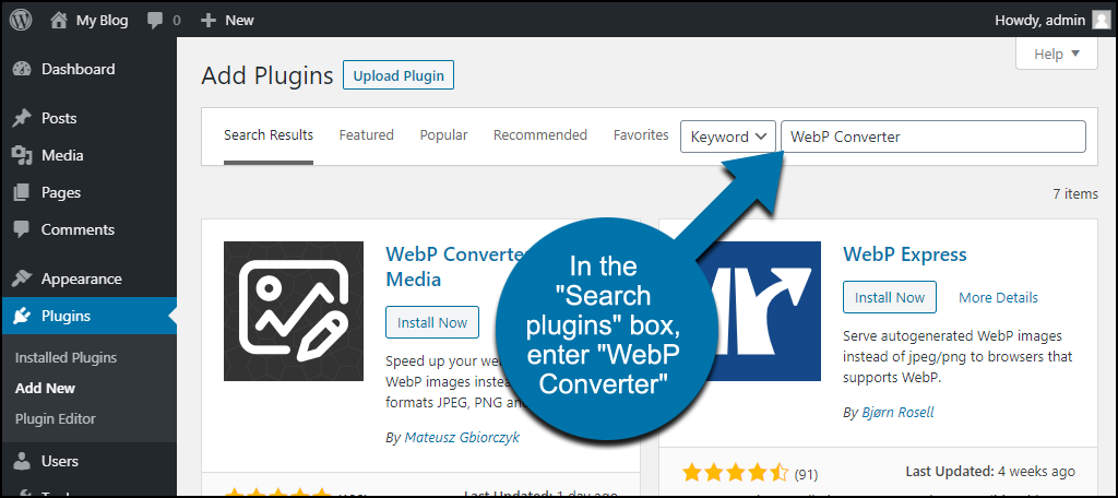 search for the WordPress WebP Converter for Media plugin