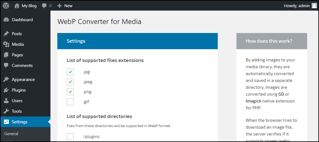 WebP Converter for Media plugin configuration supported files