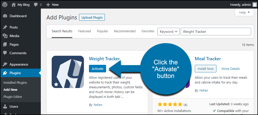 click to activate the WordPress Weight Tracker plugin