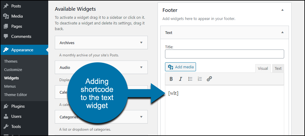 Weight Tracker WordPress plugin adding shortcode to widget
