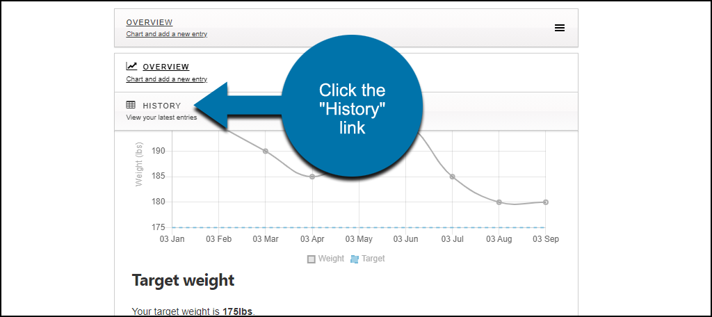"Weight Tracker WordPress plugin click ""History"" link"