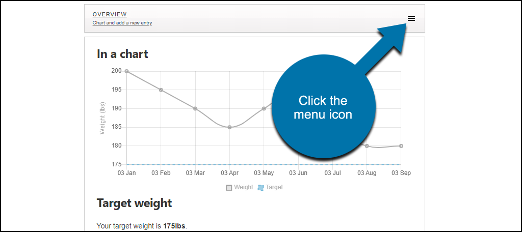Weight Tracker WordPress plugin click the menu icon