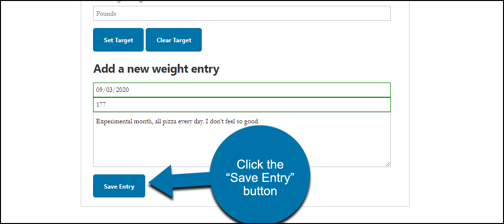 "Weight Tracker WordPress plugin click ""Save Entry"" button"