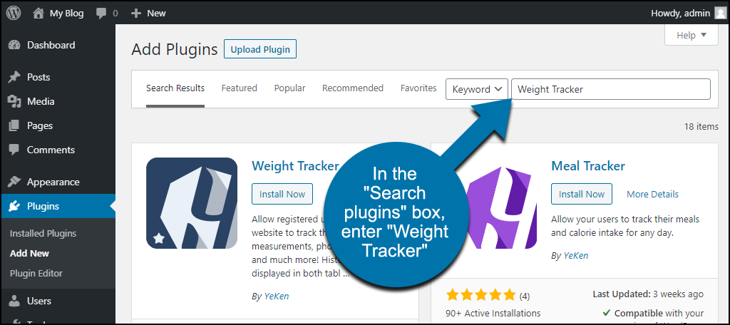 search for the WordPress Weight Tracker plugin