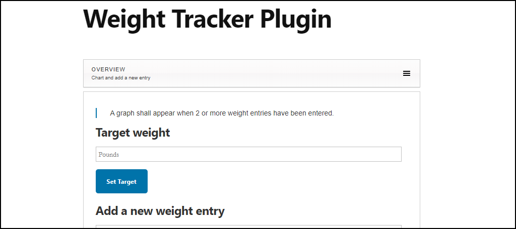 Weight Tracker WordPress plugin basic entry page on site