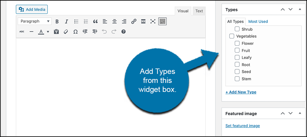 Add types widget box