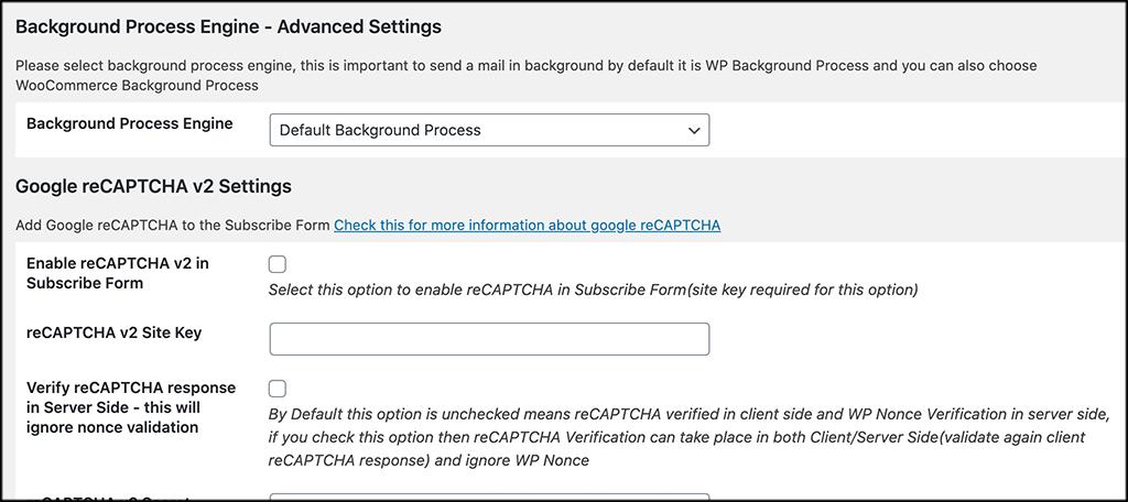 Background and recaptcha settings