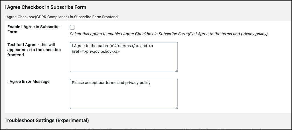 Checkbox subscribe form