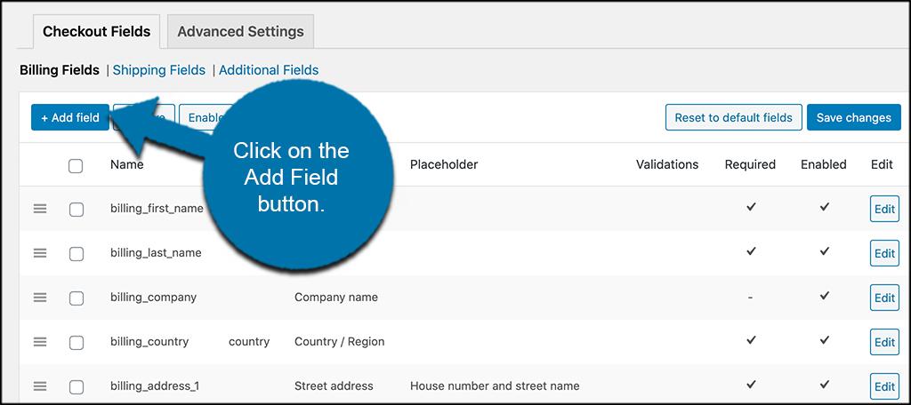 Click the add field button