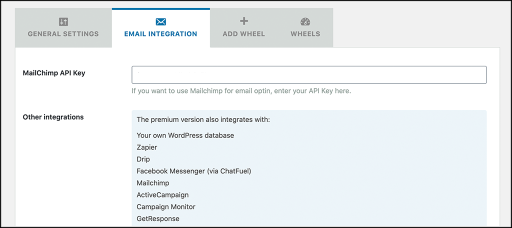 Email configuration tab