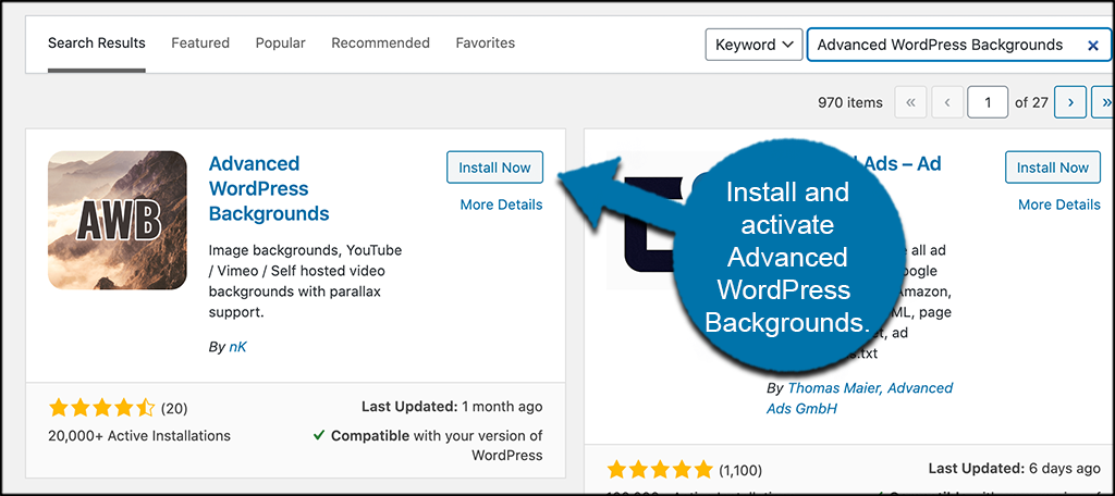 INstall and activate advanced wordpress backgrounds