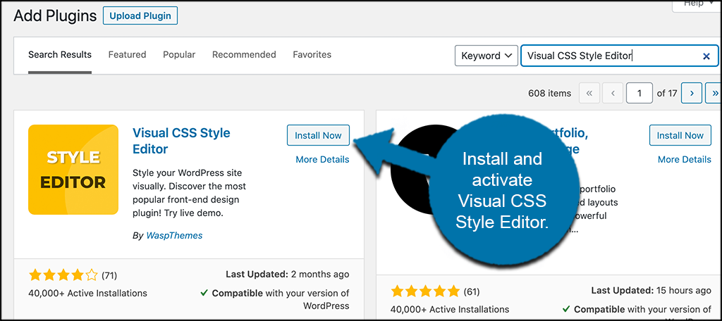 Install and activate visual css editor