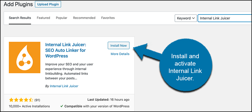 Install and activate internal link juicer