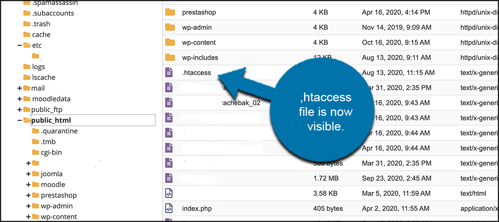 htaccess file now visible