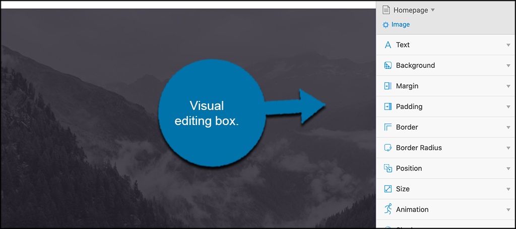 Visual editing box