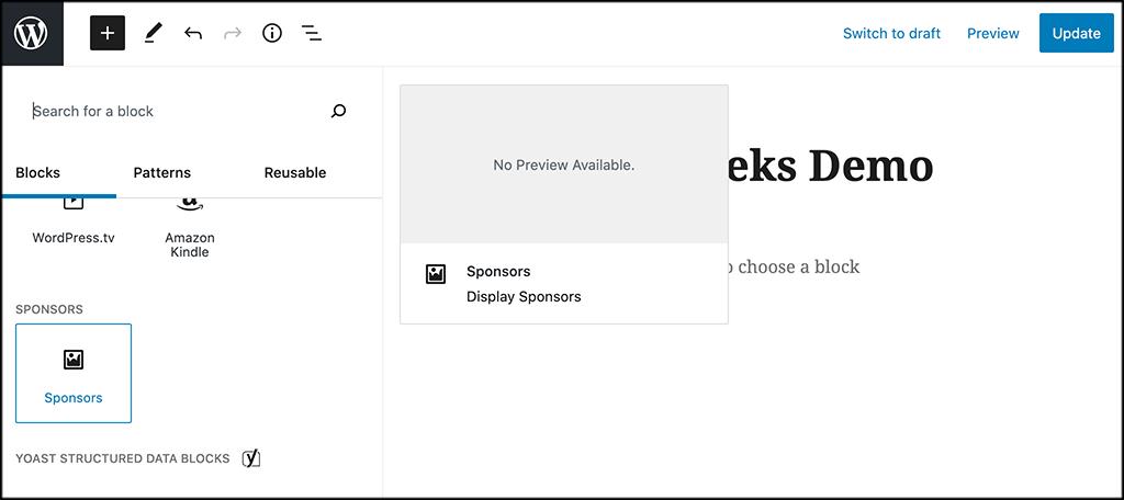 Add sponsors block