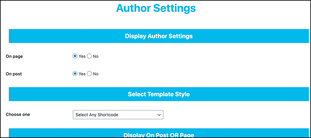 Configure about author settings
