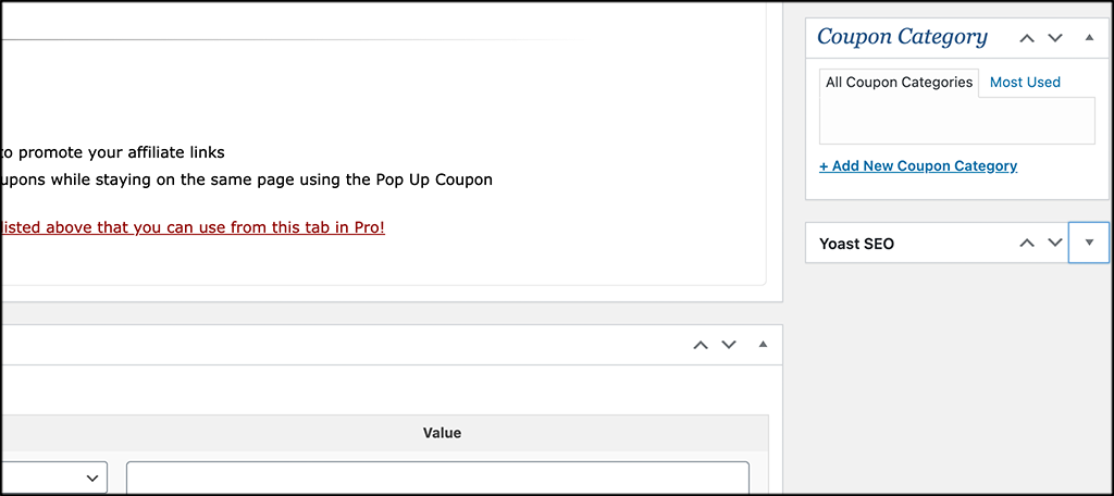 Coupon creator categories